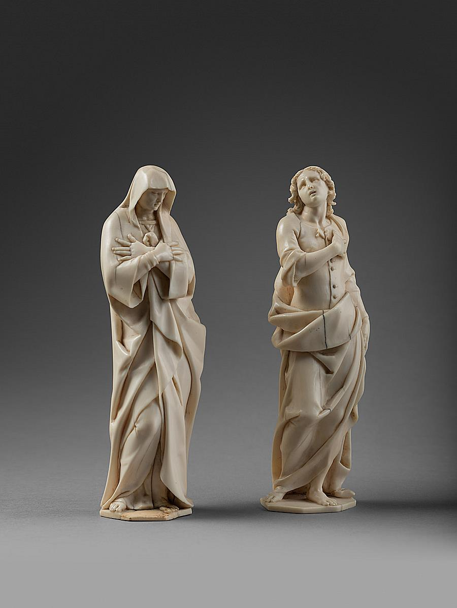 ACQUIRED BY A PRIVATE FOREIGN COLLECTION - FRANCESCO TERILLI ( ACTIVE BETWEEN 1596 AND 1633/5) - EXCEPTIONAL SIGNED PAIR OF IVORY FIGURES OF MARY AND SAINT JOHN