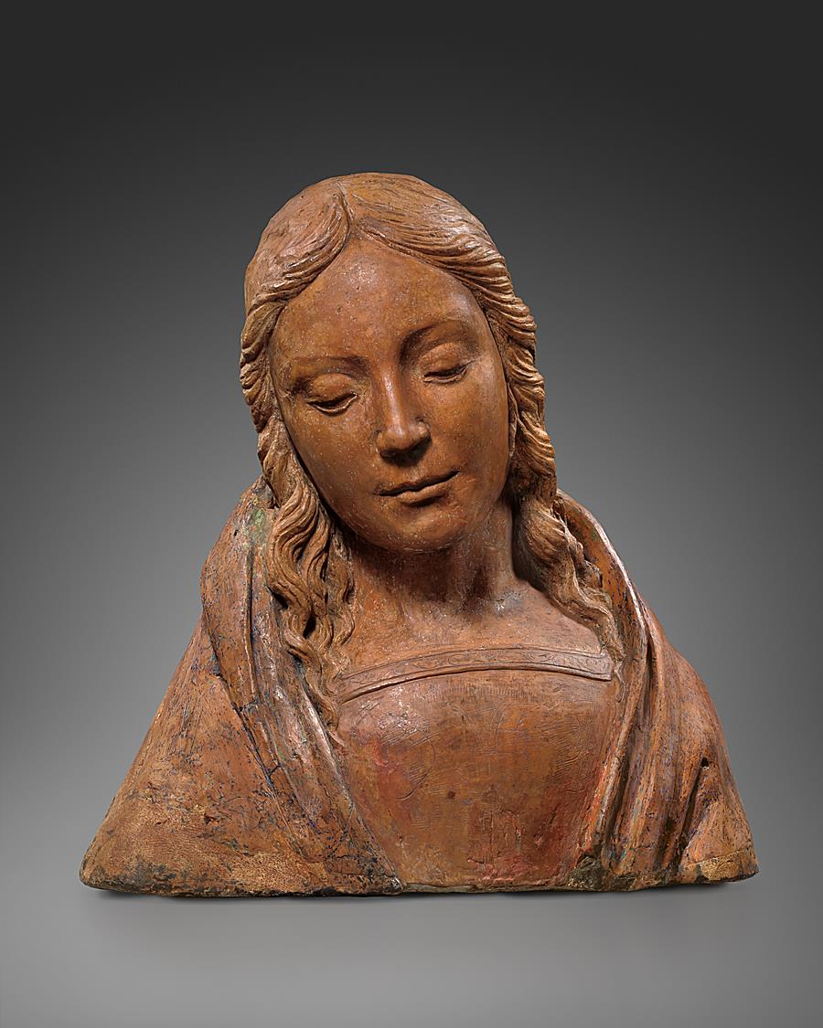 FOLLOWER OF ANDREA DEL VERROCCHIO ( 1435 - 1488)  - BUST OF A YOUNG WOMAN