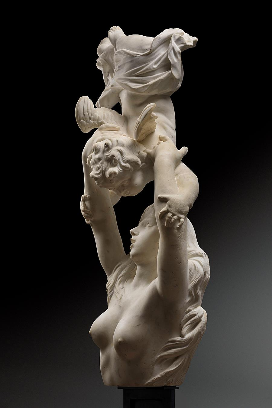 SPECTACULAR BAROQUE GROUP OF A NAIAD AND  PUTTO FLANDERS END OF THE 17TH CENTURY