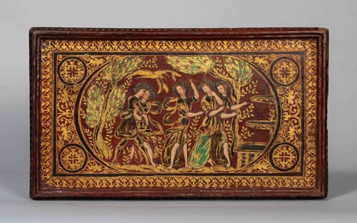 RARE RENAISSANCE LEATHER PAINTED AND GILT PANEL FROM A CASKET DEPICTING THE FOUNTAIN OF YOUTH