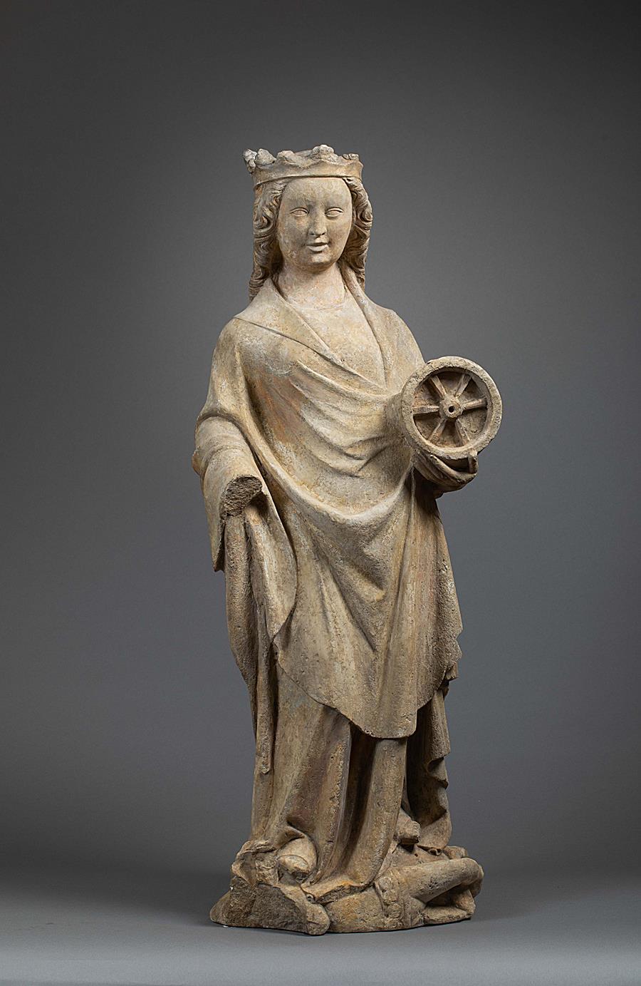 FRENCH GOTHIC FIGURE OF SAINT CATHERINE OF ALEXANDRIA