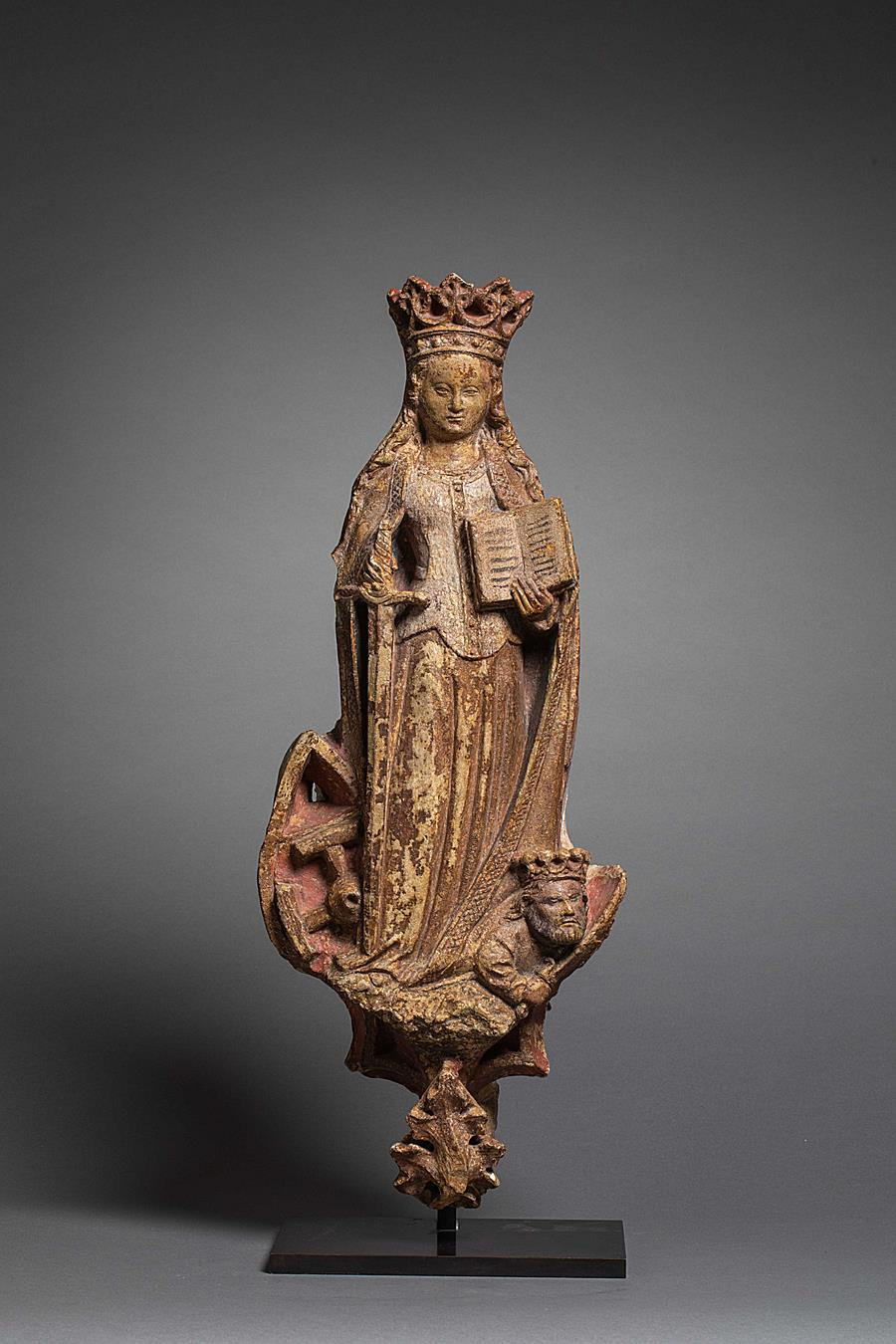 BURGUNDIAN SAINT CATHERINE OF ALEXANDRIA WITH THE WHEEL OF HER MARTYRDOM AND EMPEROR MAXENTIUS