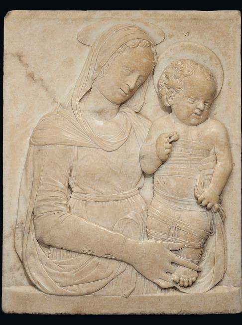 ACQUIRED BY A FOREIGN PRIVATE COLLECTION - WORKSHOP OF DESIDERIO DA SETTIGNANO (1428-1464) - VIRGIN AND CHILD  ( AFTER THE FOULC MADONNA )