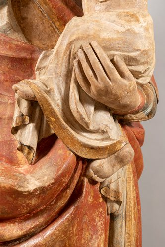 IMPORTANT MEDIEVAL  VIRGIN AND CHILD ATTACHED TO THE ORATORY OF THE ABBEY OF SAINT-GEORGES DE BOSCHERVILE
