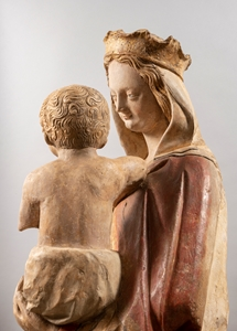 IMPORTANT MEDIEVAL  VIRGIN AND CHILD ATTACHED TO THE ORATORY OF THE ABBEY OF SAINT-GEORGES DE BOSCHERVILE  NORMANDY CIRCA 1400