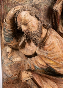 TWO IMPORTANT SCENES FROM AN ALTARPIECE DEPECTING «THE AGONY IN THE GARDEN » AND «TWO SLEEPING APOSTLES » SWABIA FIRST QUARTER OF THE 16TH CENTURY