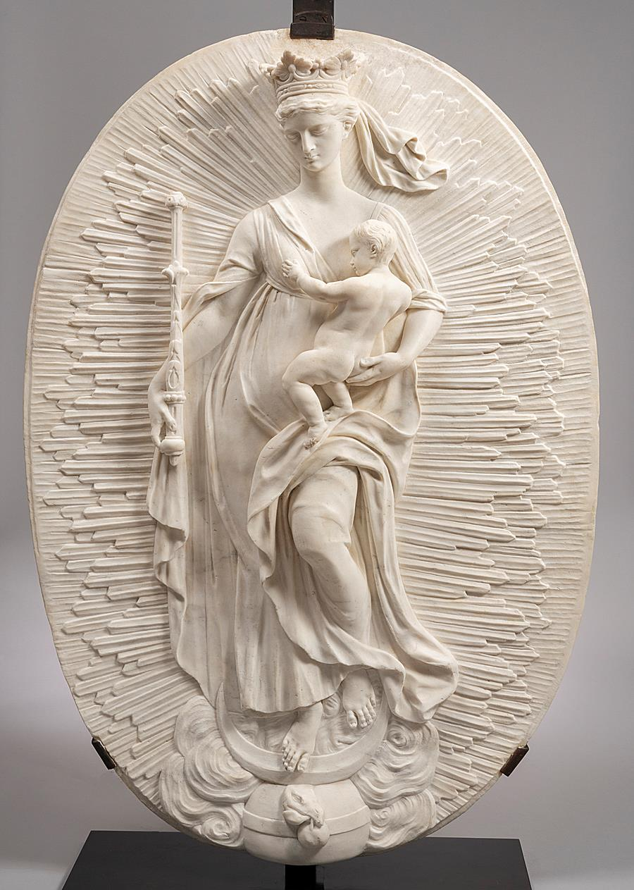 VIRGIN AND CHILD ON THE CRESCENT MOON (VIRGIN OF THE APOCALYPSE) Flanders Mid -18th Century