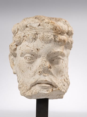 EARLY  GOTHIC HEAD OF A MAN FROM CHARTRES