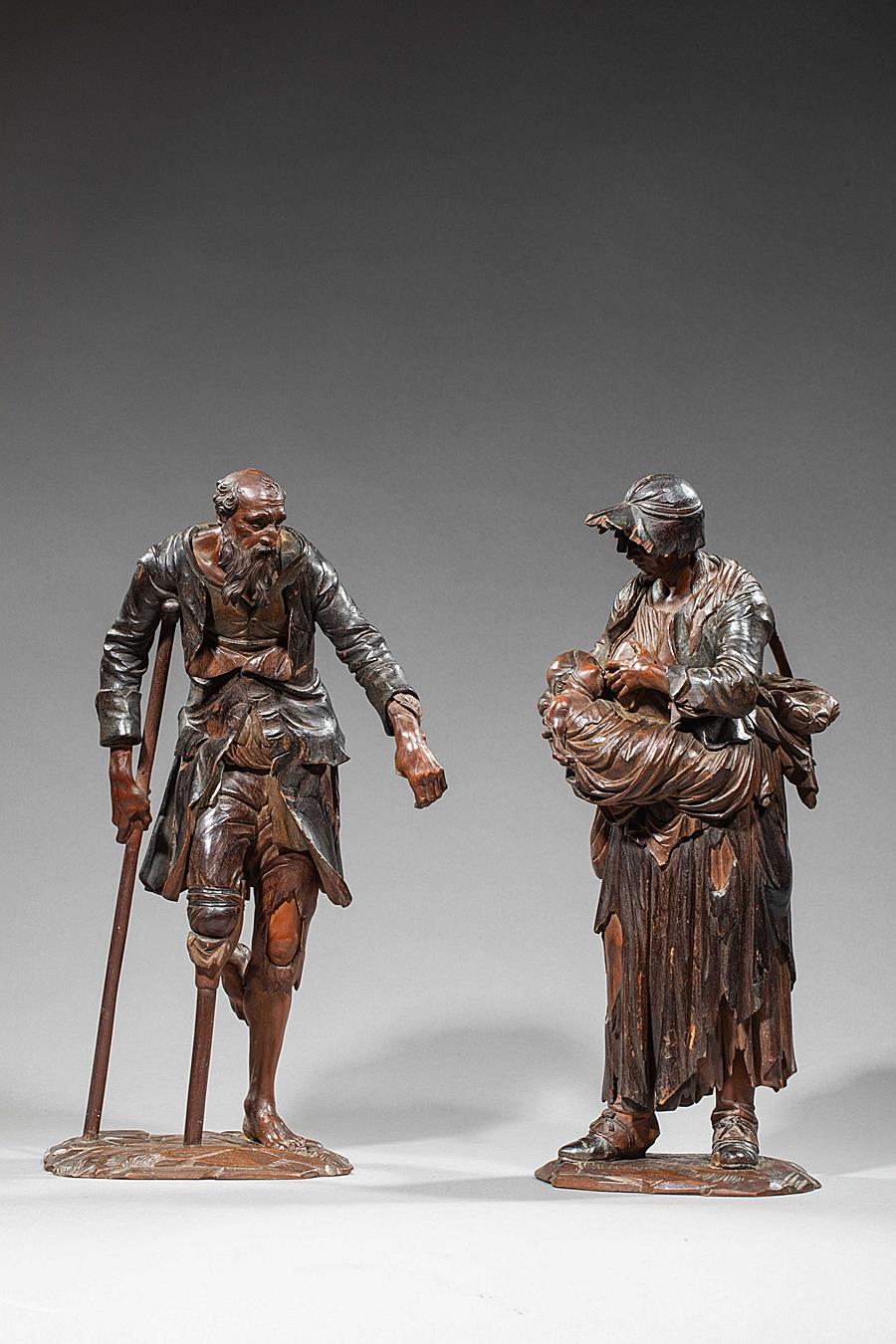 PAIR OF BEGGARS SOUTHERN GERMANY MID-18TH CENTURY