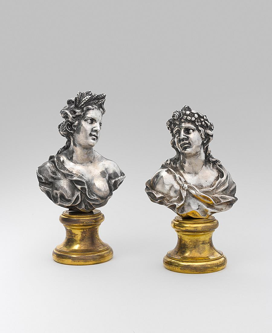 ENTOURAGE OF FILIPPO PARODI (1630-1702) PAIR OF SILVER BUSTS  SPRING AND SUMMER NORTHERN ITALY END OF THE 17TH CENTURY