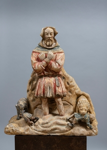 RARE MEDIEVAL GROUP OF SAINT EUSTACE AMID THE TORRENT ÎLE-DE-FRANCE 15TH CENTURY
