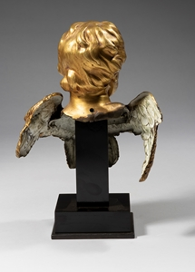 BUST OF A WINGED ANGEL ROME EARLY 18TH CENTURY