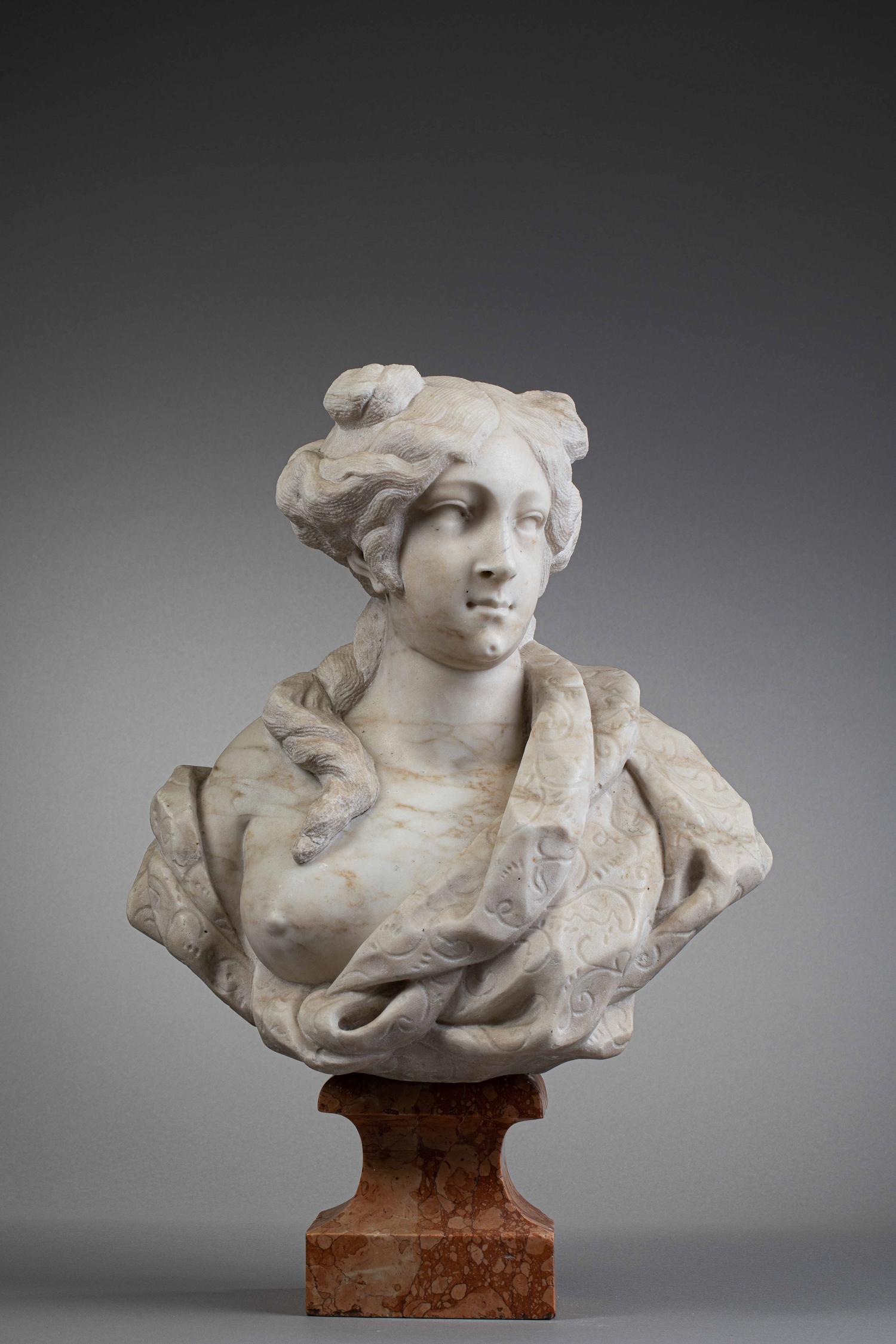 GIOVANNI BONAZZA (Venice, 1654 - Padova, 1736) - BUST OF WOMAN