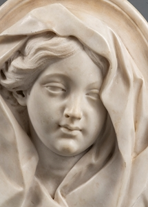 ROUNDEL WITH THE VEILED VIRGIN ROME 17TH CENTURY