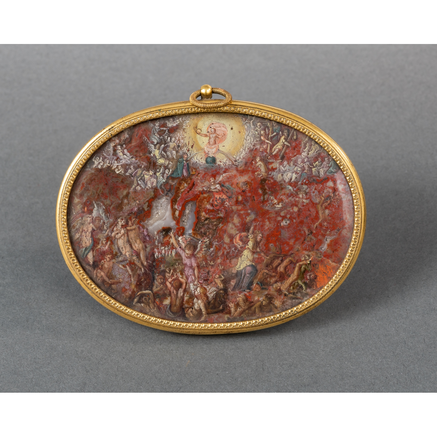 THE LAST JUDGMENT PAINT ON CHALCEDONY ITALY EARLY 17TH CENTURY