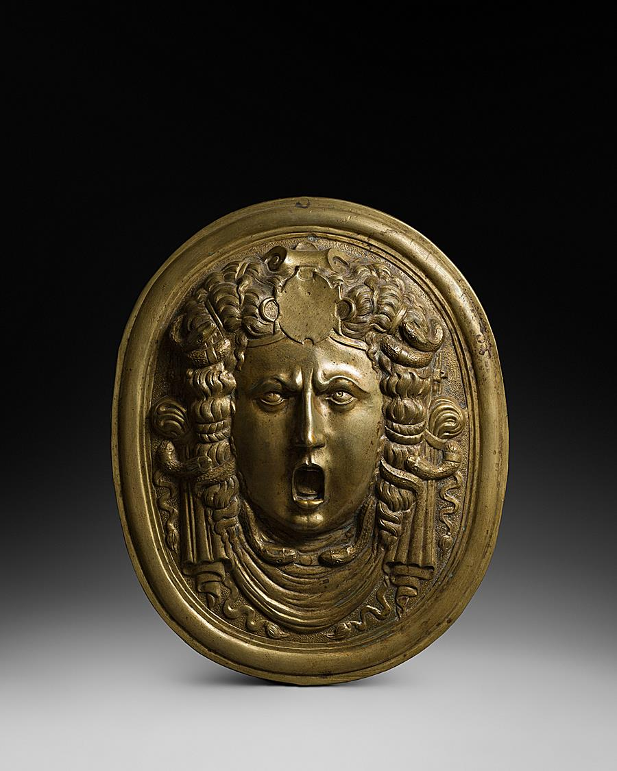 ITALIAN RENAISSANCE OVAL PLAQUE WITH MEDUSA FROM A PARADE SHIELD