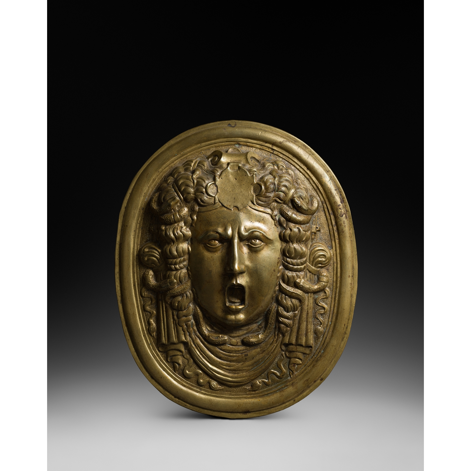 PLAQUE WITH MEDUSA FROM A PARADE SHIELD MILAN  SECOND HALF OF THE 16TH CENTURY